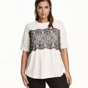 H&M H&M+ Casual Solid Lace Short sleeved blouse